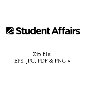 Student Affairs primary graphic in black link to zip file with eps, jpg, pdf and png versions