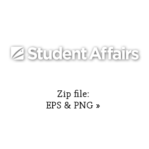 Student Affairs primary graphic in white link to zip file with eps and png versions