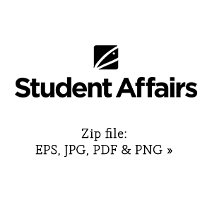 Student Affairs stacked graphic in black link to zip file with eps, jpg, pdf and png versions