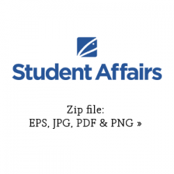Student Affairs stacked graphic in blue link to zip file with eps, jpg, pdf and png versions