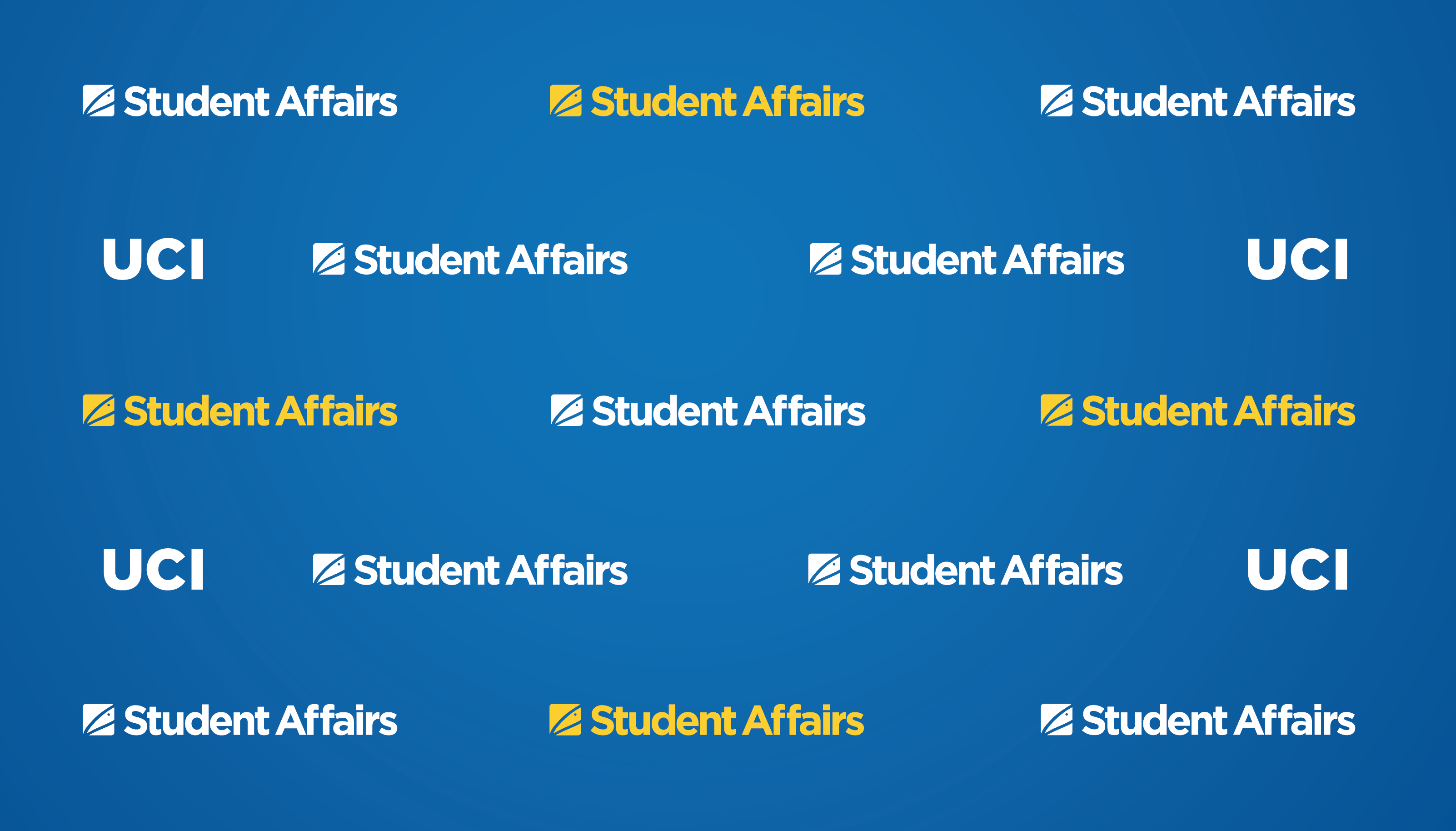 Blue background with white UCI logos and white and yellow Student Affairs graphics in a repeating pattern across the screen