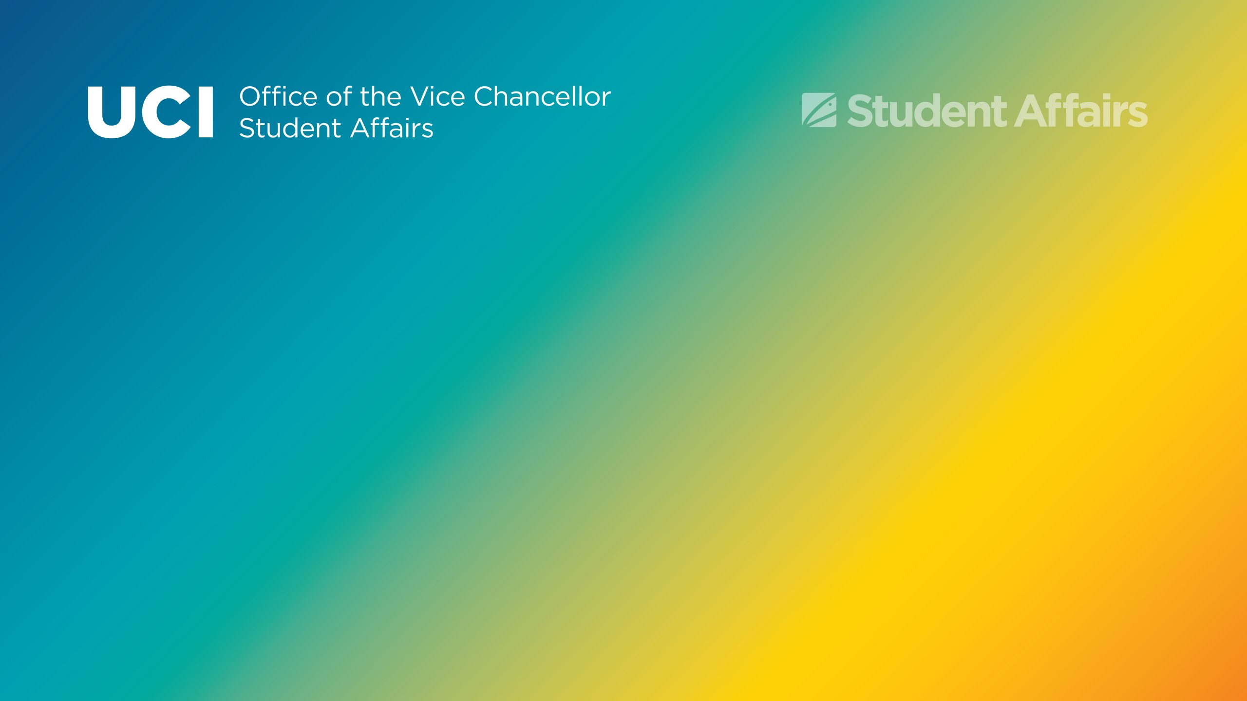 Blue gold gradient background with transparent white OVCSA and Student Affairs graphic at top