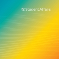 Blue gold gradient with Student Affairs graphic and light white wavy lines in a pattern throughout