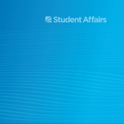 Blue gradient with Student Affairs graphic and light white wavy lines in a pattern throughout background