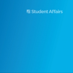 Blue gradient background with transparent white Student Affairs graphic in upper right corner