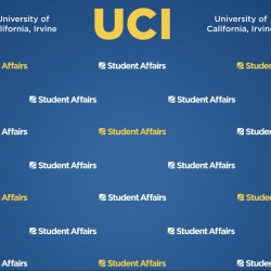 Dark blue gradient background with large yellow UCI logo at top, flanked by white University of California, Irvine logos and multiple yellow and white Student Affairs graphics in a repeating pattern below