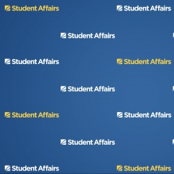 Dark blue gradient with multiple white and yellow Student Affairs graphics in a step and repeat pattern across the entire screen