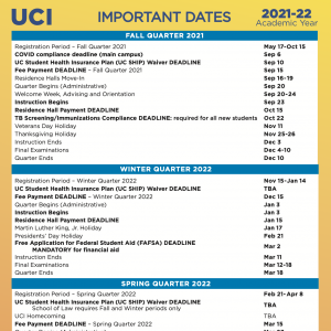 2021-22 Academic Year important dates