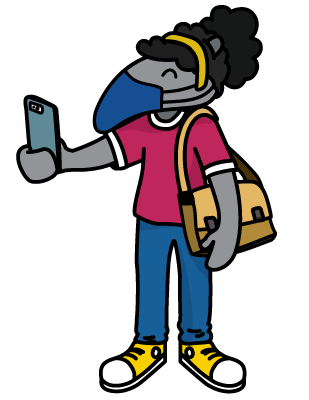 drawing of an anteater wearing a face covering and holding a phone