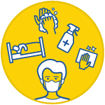 icon of an person in a house sleeping, a face with a covering, hand washing icons, virus icon and cleaning supplies inside a yellow circle