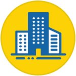 icon of three buildings inside a yellow circle