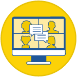 icon of a silhouette of four people chatting on a computer screen inside a yellow circle