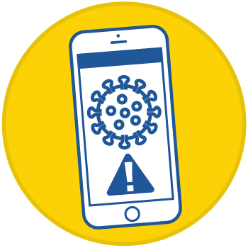 icon of a phone with drawing of coronavirus and alert symbol, inside a yellow circle