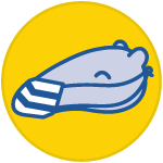 icon of an anteater wearing a face covering inside a yellow circle