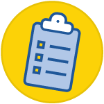 icon of a clipboard with checkboxes inside a yellow circle