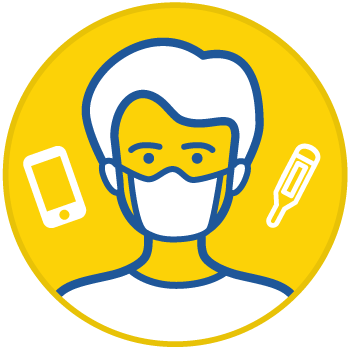 icon with drawing of person wearing a mask, surrounded by a phone and a thermometer, inside a yellow circle