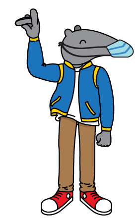 anteater cartoon wearing a face covering and zotting